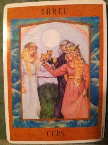 Three of Cups from The Goddess Tarot by Kris Waldherr
