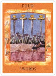 Four of Swords from The Goddess Tarot by Kris Waldherr, courtesy of US Games