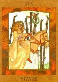 Six of Staves, from The Goddess Tarot by Kris Waldherr